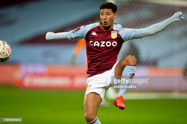 Callum Rowe of Aston Villa in action during the FA Cup Third Round between Aston Villa and Liverpool at Villa Park on January 08, 2021 in Birmingham,...
