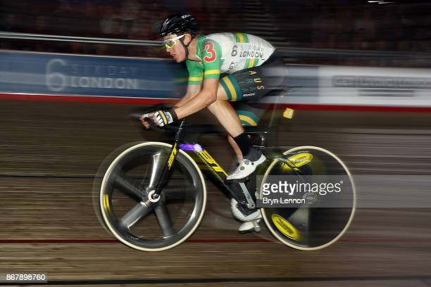 Callum Scotson of Australia in action during day six of the London Six Day Race at the Lee Valley Velopark Velodrome on October 24 2017 in London...