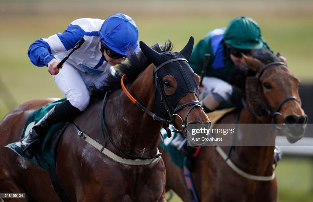 Callum Shepherd riding Not Your Call (L) win The Crystal Palace Handicap Stakes at Lingfield racecourse on March 30, 2016 in Lingfield, England.
