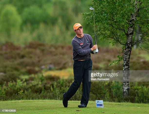 Callum Shinkwin of Engalnd in action on the 10th tee during the second round of the 2015 SSE Scottish Hydro Challenge at the MacDonald Spey Valley...