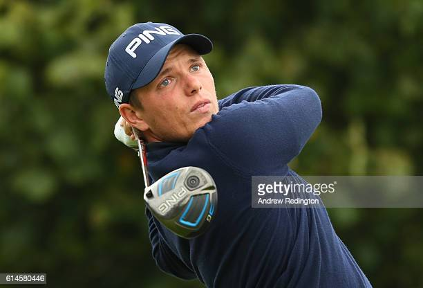 Callum Shinkwin of England hits his tee shot on the third hole during the second round of the British Masters at The Grove on October 14 2016 in...