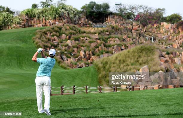 Callum Shinkwin of England in action during the pro-am event prior to the Hero Indian Open at the DLF Golf & Country Club on March 27, 2019 in New...