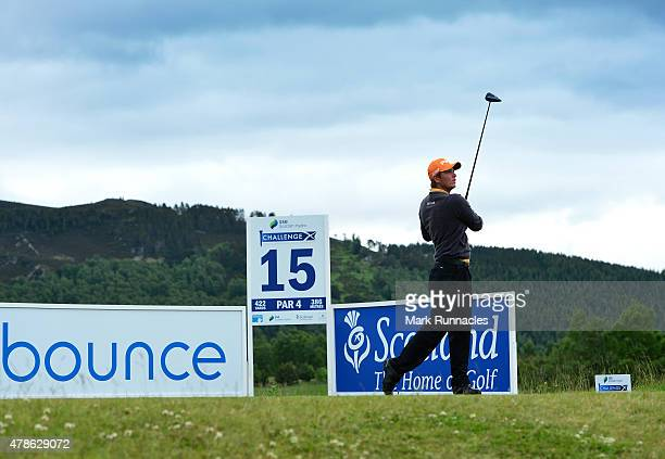 Callum Shinkwin of England in action on the 15th tee during the second round of the 2015 SSE Scottish Hydro Challenge at the MacDonald Spey Valley...