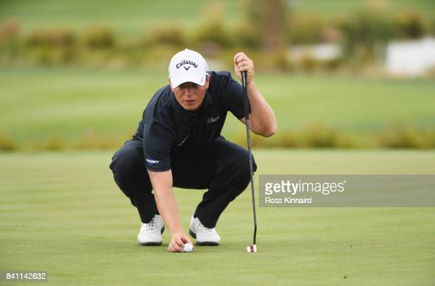 Callum Shinkwin of England lines up a putt on the 18th green during day one of the DD REAL Czech Masters at Albatross Golf Resort on August 31 2017...