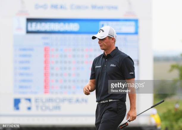 Callum Shinkwin of England looks on from the 18th green during day one of the DD REAL Czech Masters at Albatross Golf Resort on August 31 2017 in...