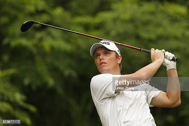 Callum Shinkwin of England plays a shot during the final round of the Shenzhen International at Genzon Golf Club on April 24 2016 in Shenzhen China