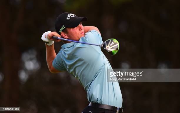 Callum Shinkwin of England plays his first shot on the 12th tee during the Open Series Qualifying AAM Scottish Open at Dundonald Links Golf Course on...