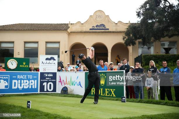 Callum Shinkwin of England plays his shot off the 10th tee during day one of the Andalucia Valderrama Masters at Real Club Valderrama on October 18...