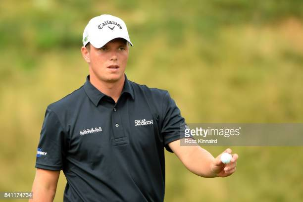 Callum Shinkwin of England putting on the 18th greend uring the first round of the DD REAL Czech Masters at the Albatross Golf Resort on August 31...