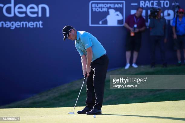Callum Shinkwin of England putts on the 18th green during the final round of the AAM Scottish Open at Dundonald Links Golf Course on July 16 2017 in...