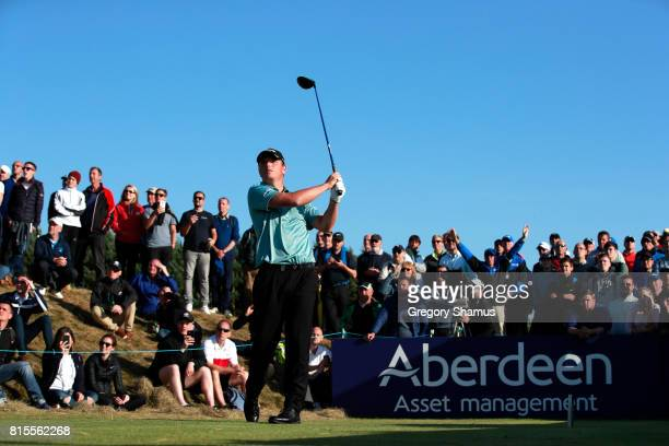 Callum Shinkwin of England tees off on the 18th hole during the final round of the AAM Scottish Open at Dundonald Links Golf Course on July 16 2017...