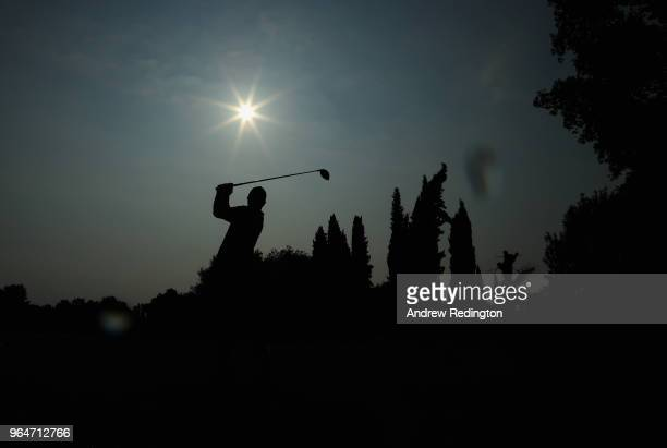 Callum Shinkwin of England tees off on the 2nd hole during day two of the Italian Open at Gardagolf CC on June 1 2018 in Brescia Italy