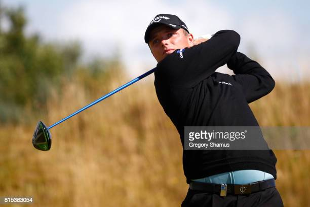 Callum Shinkwin of England tees off on the 2nd hole during the final round of the AAM Scottish Open at Dundonald Links Golf Course on July 16 2017 in...