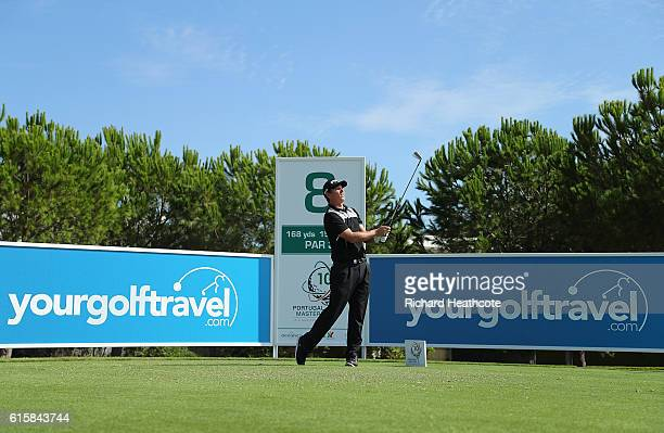 Callum Shinkwin of England tees off on the 8th hole during day one of the Portugal Masters at Victoria Clube de Golfe on October 20 2016 in Vilamoura...