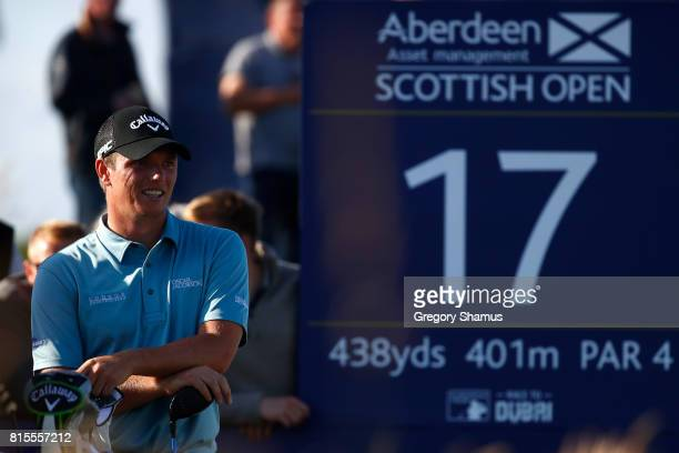 Callum Shinkwin of England waits on the 17th hole during the final round of the AAM Scottish Open at Dundonald Links Golf Course on July 16 2017 in...