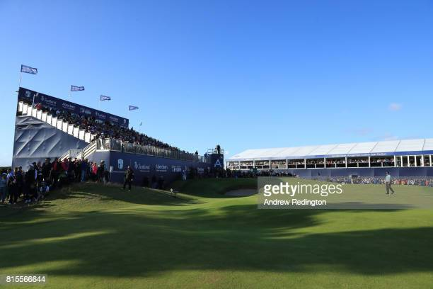 Callum Shinkwin of England walks on the 18th green during the final round of the AAM Scottish Open at Dundonald Links Golf Course on July 16 2017 in...