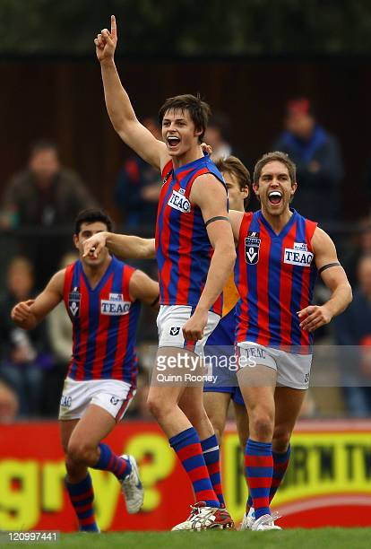 Callum Sinclair of Port Melbourne celebrates a goal during the round 20 VFL match between Willimastown and Port Melbourne at Avalon Airport Oval on...