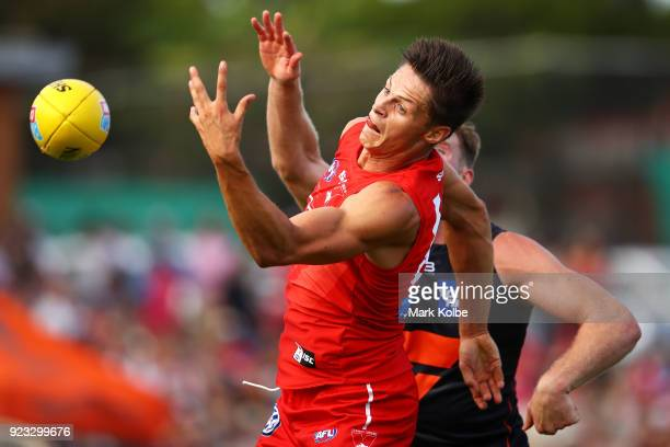 Callum Sinclair of the Swans attempts to mark during the AFL Inter Club match between the Sydney Swans and the Greater Western Sydney Giants at...