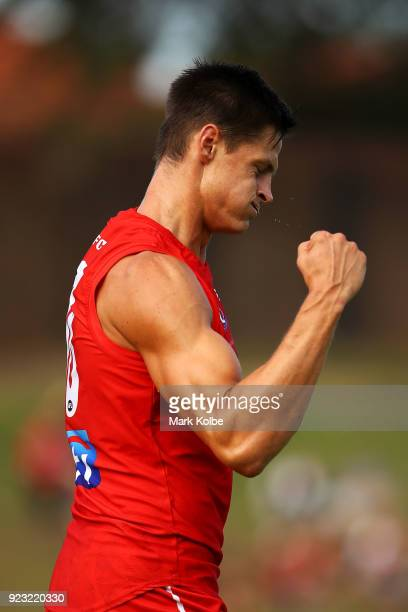 Callum Sinclair of the Swans celebrates scoring a goal during the AFL Inter Club match between the Sydney Swans and the Greater Western Sydney Giants...