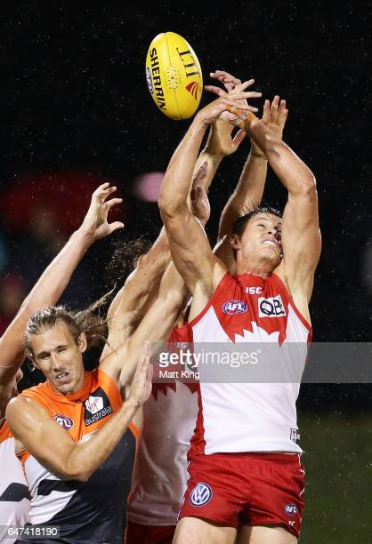 Callum Sinclair of the Swans competes for the ball during the 2017 JLT Community Series AFL match between the Greater Western Sydney Giants and the...