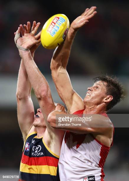 Callum Sinclair of the Swans contests the ball Sam Jacobs of the Crows during the round five AFL match between the Sydney Swans and the Adelaide...