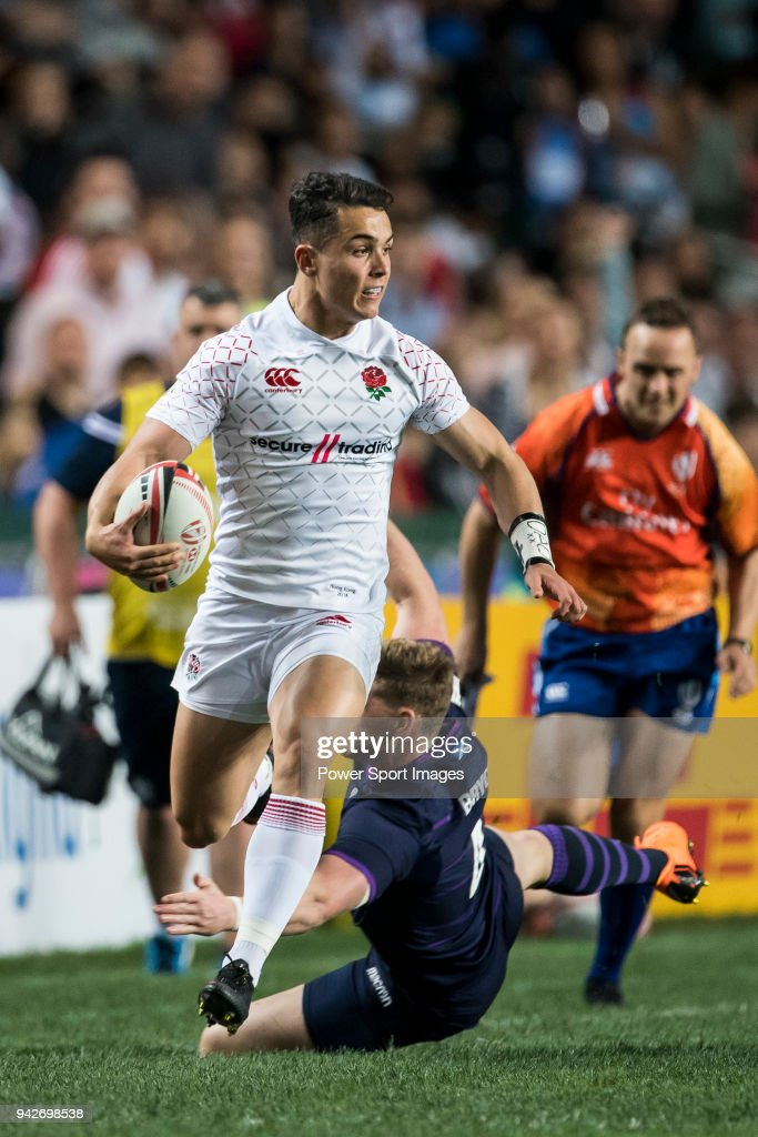 Callum Sirker of England in action during their Pool C match between England and Scotland as part of the HSBC Hong Kong Rugby Sevens 2018 on April 6, 2018 in Hong Kong, Hong Kong.