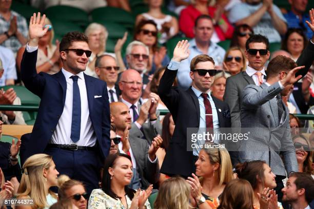 Callum Skinner and Philip Hindes are introduced to the crowd from the centre court royal box on day six of the Wimbledon Lawn Tennis Championships at...