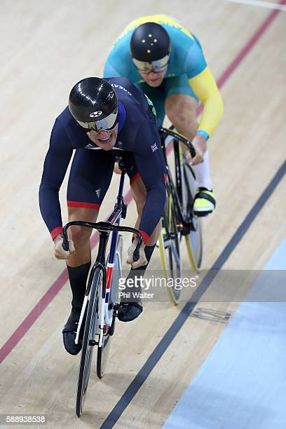 Callum Skinner of Great Britain and Patrick Constable of Australia compete in the Men's Sprint 1/16 Finals on Day 7 of the Rio 2016 Olympic Games at...