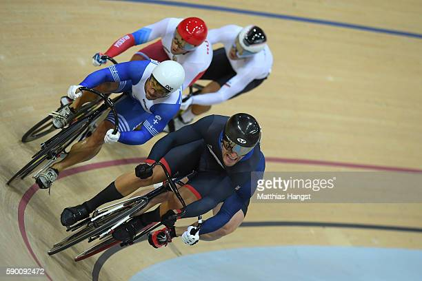 Callum Skinner of Great Britain, Christos Volikakis of Greece, Denis Dmitriev of Russia and Maximilian Levy of Germany compete in the Men's Keirin...