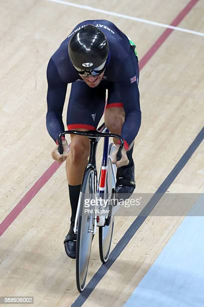 Callum Skinner of Great Britain competes in the Men's Sprint Qualifying on Day 7 of the Rio 2016 Olympic Games at the Rio Olympic Velodrome on August...