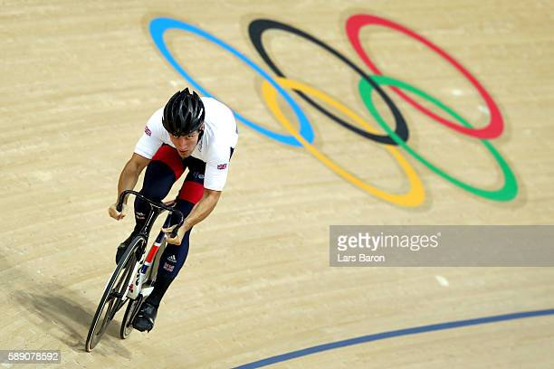 Callum Skinner of Great Britain prior to the Men's Sprint 1/8 Finals on Day 8 of the Rio 2016 Olympic Games at the Rio Olympic Velodrome on August 13...