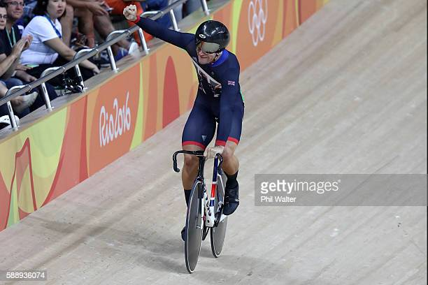 Callum Skinner of Great Britain reacts after competing in the Men's Sprint Qualifying on Day 7 of the Rio 2016 Olympic Games at the Rio Olympic...