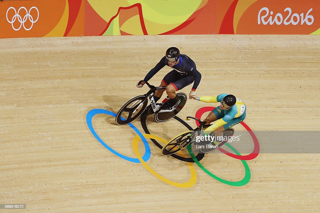 Callum Skinner (L) of Great Britain shakes hands with Matthew Glaetzer (R) of Australia after winning in the Men's Sprint Semifinal Race 2 and qualifying for the gold medal final on Day 8 of the Rio 2016 Olympic Games at the Rio Olympic Velodrome on August 13, 2016 in Rio de Janeiro, Brazil.