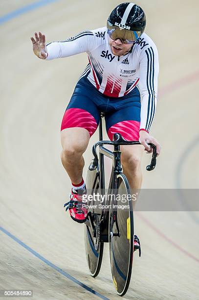 Callum Skinner waves his hand during the Men«s Sprint Final round heat as part of the UCI Track World Cycling on January 16 2016 in Hong Kong Hong...