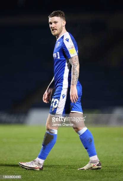 Callum Slattery of Gillingham FC looks on during the Sky Bet League One match between Gillingham and Lincoln City at MEMS Priestfield Stadium on...