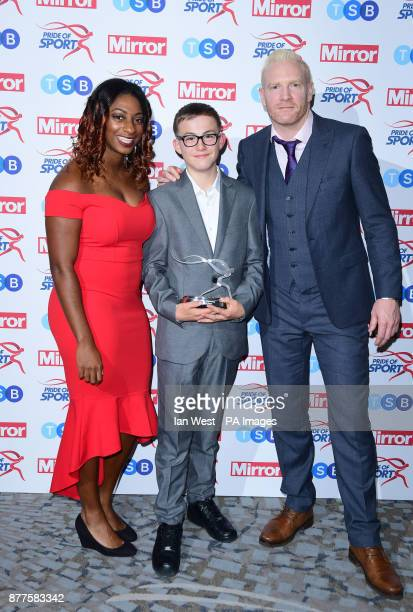 Callum Smart wins the TSB Community Partner Award at the Pride of Sport awards presented by Kadeena Cox and Iwan Thomas at the Grosvenor House hotel...