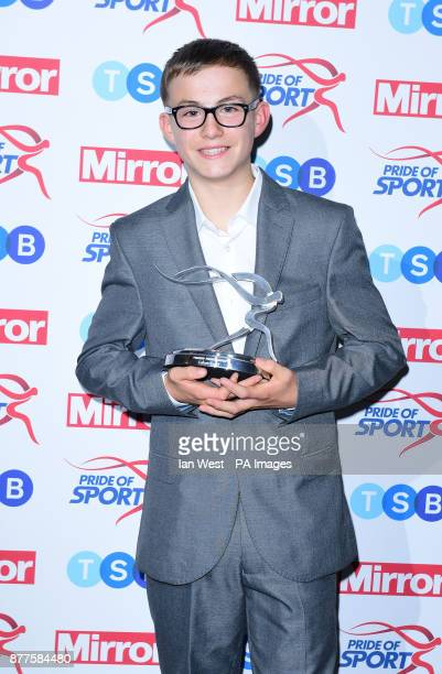 Callum Smart wins the Young Fundraiser Award at the Pride of Sport awards presented by Kadeena Cox and Iwan Thomas at the Grosvenor House hotel London