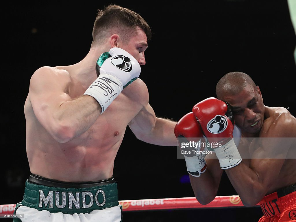 Callum Smith and Hadillah Mohoumadi during their EBU and Final Eliminator for the WBC Super-Middleweight Championship at the Echo Arena on April 2, 2016 in Liverpool, England.