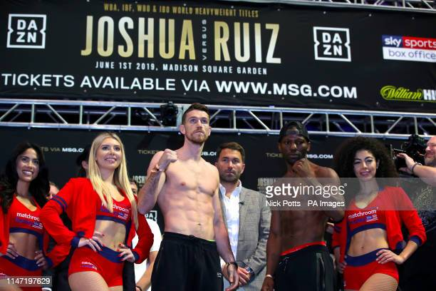 Callum Smith and Hassan N'Dam during the weigh in at Madison Square Garden New York