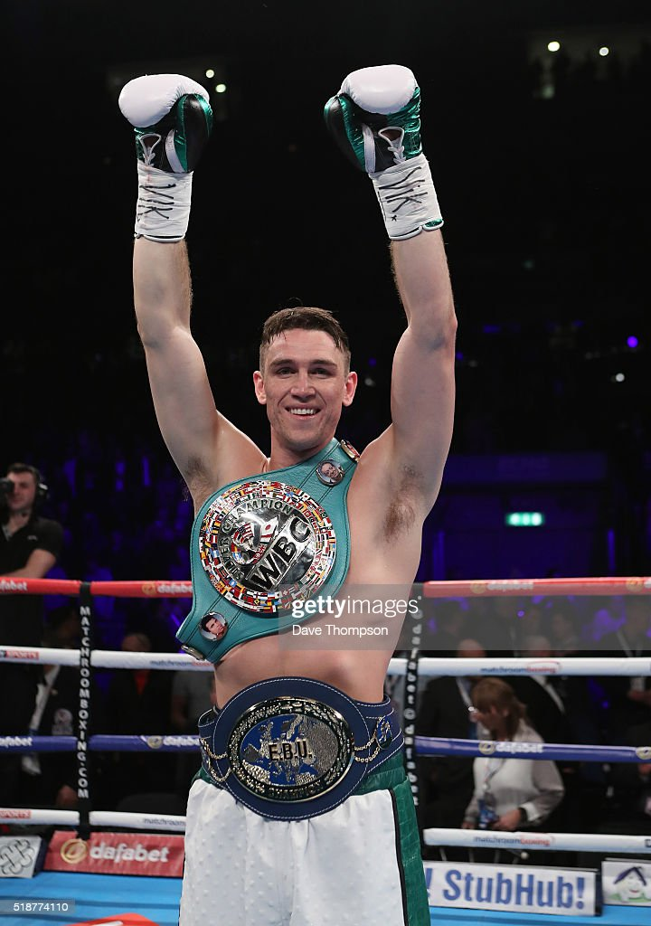 Callum Smith celebrates beating Hadillah Mohoumadi during their EBU and Final Eliminator for the WBC Super-Middleweight Championship at the Echo Arena on April 2, 2016 in Liverpool, England.
