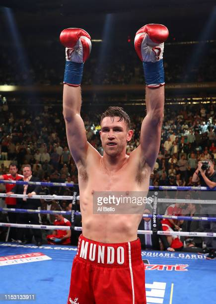 Callum Smith celebrates his third round tko of Hassan N'Dam during their WBA super middleweight title fight at Madison Square Garden on June 01 2019...