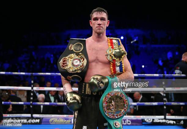 Callum Smith celebrates victory over John Ryder after their WBA World, WBC Diamond & Ring Magazine Super-Middleweight Title Fight at M&S Bank Arena...