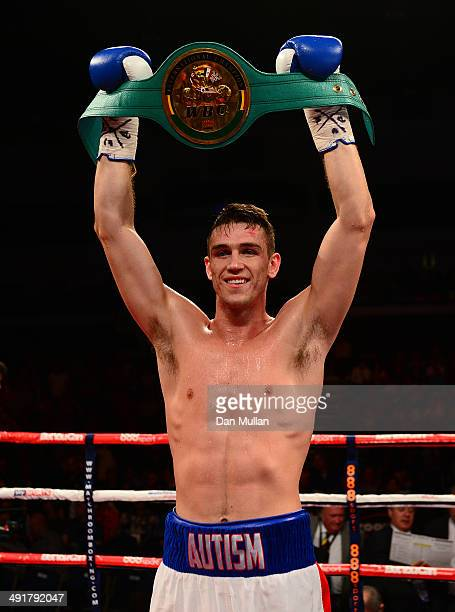 Callum Smith celebrates with the belt after defeating Tobias Smith during their WBC Super Middleweight Title bout at the Motorpoint Arena on May 17...
