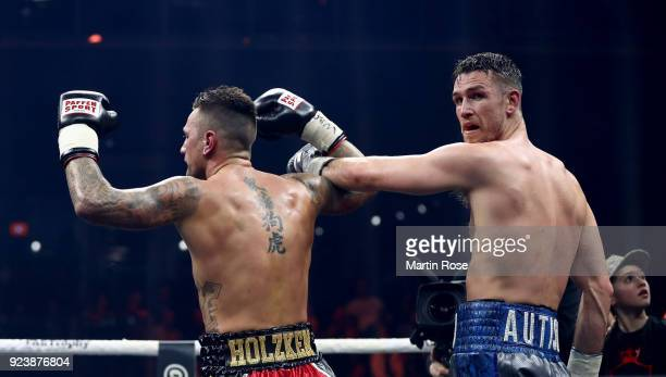 Callum Smith of England and coach celebrates vicotry over Nieky Holzken of Netherlands after the Ali Trophy Super Middleweight SemiFinal fight at...
