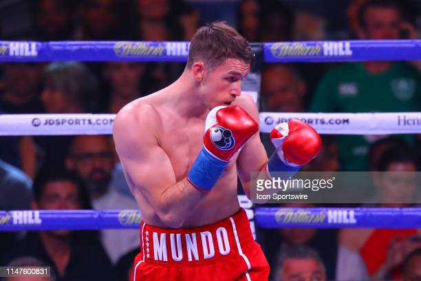 Callum Smith of England battles Hassan N'Dam of Monaco in a WBA Super Middleweight World and WBC Diamond and Ring Magazine Championship fight at...
