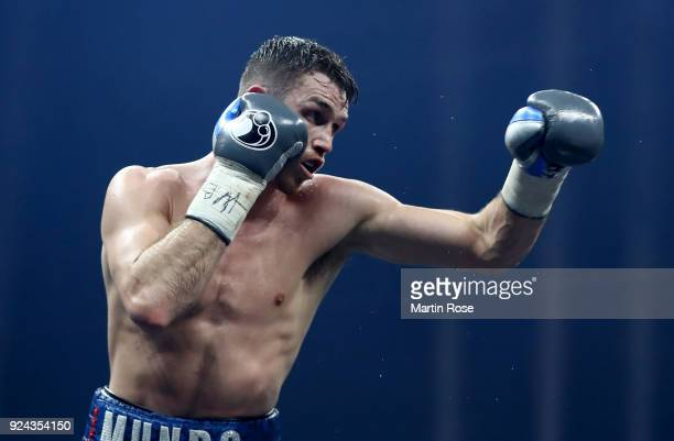 Callum Smith of England in action against Nieky Holzken of Netherlands during the Ali Trophy Super Middleweight SemiFinal fight at Arena Nurnberger...