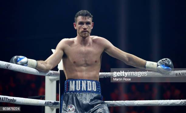 Callum Smith of England reacts during the Ali Trophy Super Middleweight SemiFinal fight at Arena Nurnberger on February 24 2018 in Nuremberg Germany