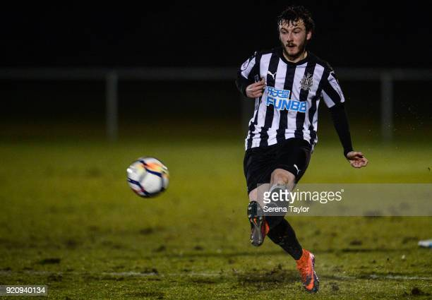 Callum Smith of Newcastle United passes the ball during the Premier League 2 match between Newcastle United and Southampton at Whitley Park on...