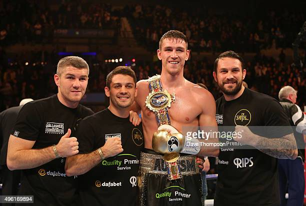 Callum Smith stands alongside brothers Liam Smith Stephen Smith and Paul Smith after beating Rocky Fielding during their Super Middleweight contest...