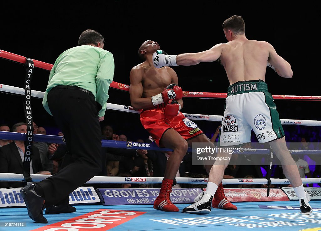 Callum Smith stops Hadillah Mohoumadi during their Final Eliminator for the WBC Super-Middleweight Championship at the Echo Arena on April 2, 2016 in Liverpool, England.